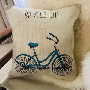 Other - ADORABLE bicycle city pillow cover decor case